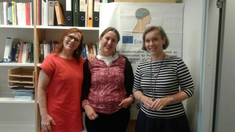 Marina with professors of the Speech Therapy Department of the University of Helsinki
